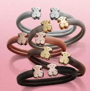 Fashion-New-Stainless-steel-Women-Bear-Open-Cuff-Bangle-Bracelet-C-shaped-Gift