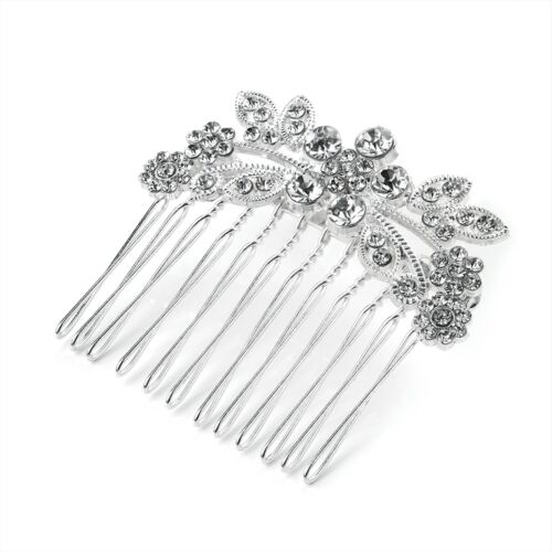 Silver Crystal Metal Wire Hair Comb Daimante Large Flower  Wedding Prom Bride