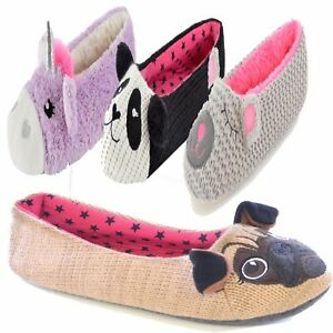 Womens-Girls-Ladies-animal-novelty-slippers-Ballet-lounge-pump-Ballerina-soft