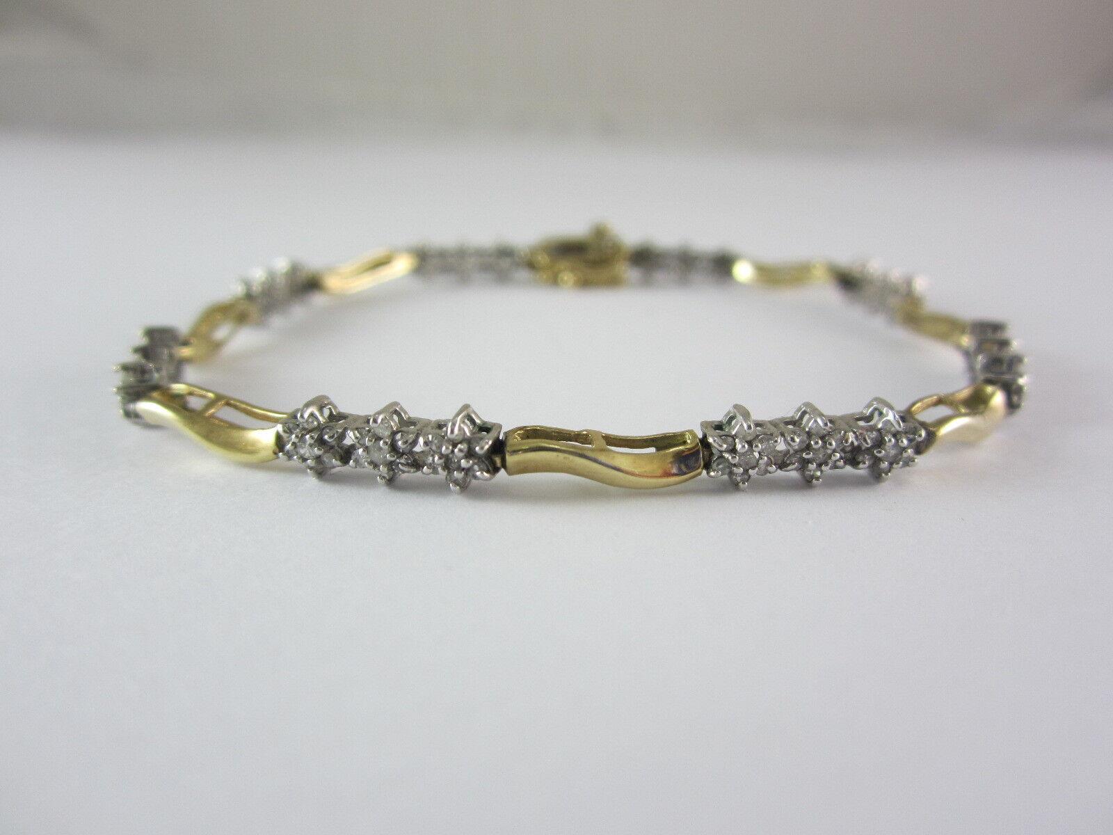 BEAUTIFUL LADIES 10K MULTI-TONE gold DIAMOND  BRACELET 5.9G (.84 TDW)