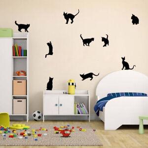 Cat Family Vinyl Wall Sticker Wallpaper Cartoon Living Room Office