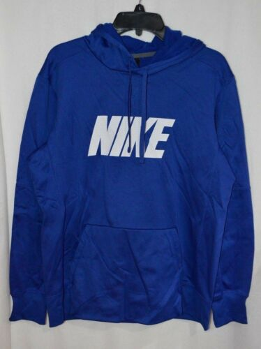 CI5799-495 Nike Men/'s Blue//White Therma Fit Fleece Pullover Hoodie L//XL//XXL