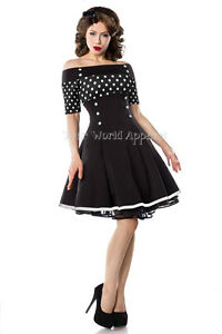 Bardot-Black-and-White-Polka-Dot-Fit-and-Flare-Vintage-Style-Retro-Dress-Pin-Up