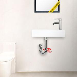Wall-Mount-Rectangle-Bathroom-Ceramic-Vessel-Sink-W-Faucet-Chrome-Combo-Drain