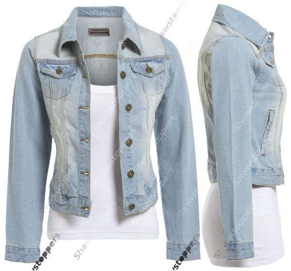 18 20 22 24 New Denim Jacket Womens Jean Waist Jackets Ladies Stonewash Blue Compre Uno Y LléVese Otro Gratis