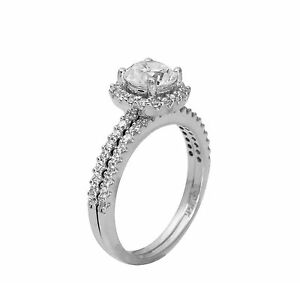 1.50 Ct 14K White Gold Round Halo Engagement Promise Ring Matching Band Duo Set
