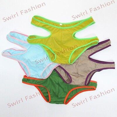K211C Mens Underwear Hollow Cut Out Trunks Briefs Low Rise Fine Cotton colors