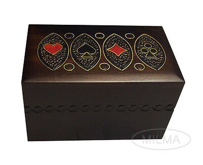 Playing Card Box Polish Handmade Linden Wooden Keepsake Cards Box