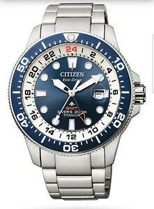 OROLOGIO-CITIZEN-PROMASTER-Diver-039-s-Eco-Drive-Super-Titanio-GMT-BJ7111-86L-NUOVO