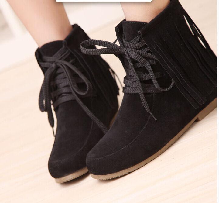 botas invierno flecos cómodo zapatos de tacón mujer 4.5 cm negro 8782