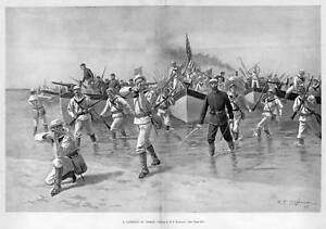 MILITARY-LANDING-SHIPS-GUNS-SOLDIERS-ANTIQUE-HISTORY