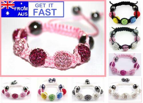 1 x Children/'s Kids Baby Girls Shamballa Shambhala Bracelet Genuine Crystal