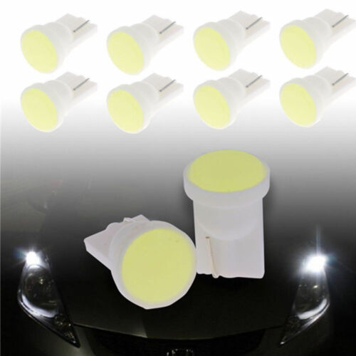 10x T10 W5W Wedge Side Car Super Bright White 1 LED COB SMD Light Bulb Lamp 12V