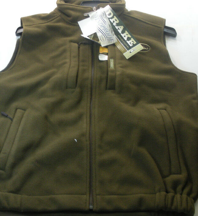 Drake Waterfowl 160309-L Brown Windproof Layering Fleece Vest Large 15336