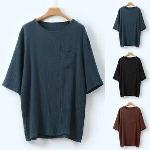 Men-039-s-Linen-Short-Sleeve-Summer-Solid-Shirts-Casual-Loose-Dress-Soft-Tops-Tee-US