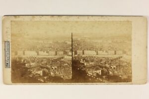 Francia Lione Panorama Depuis Fourvière Foto Stereo Vintage Albumina c1860