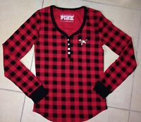 Large - Victoria's Secret Thermal Waffle Long Sleeve Shirt Red/black Plaid