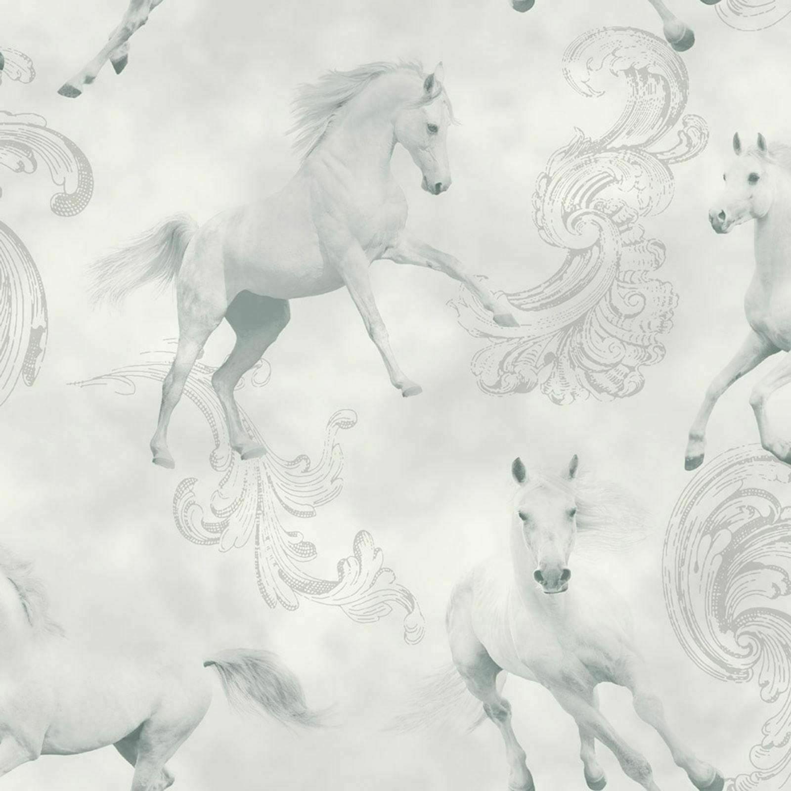 Arthouse Camarillo Light Grey Horses Wallpaper With Silver Glitter 667300 For Sale Online Ebay