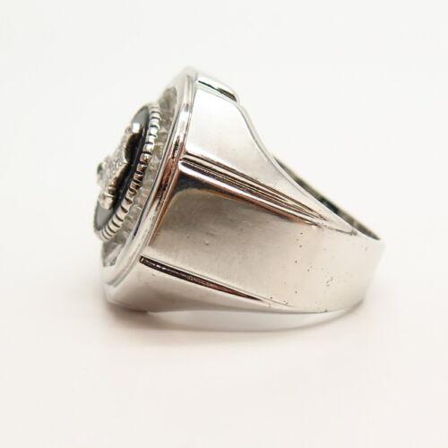 925 Sterling Silver Black Onyx Gem /& C Z Masonic Symbol Signet Ring