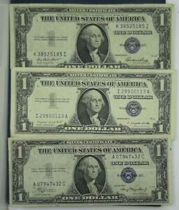 1-SILVER-CERTIFICATE-AVERAGE-CIRCULATED-EACH-LOT-IS-3-NOTES