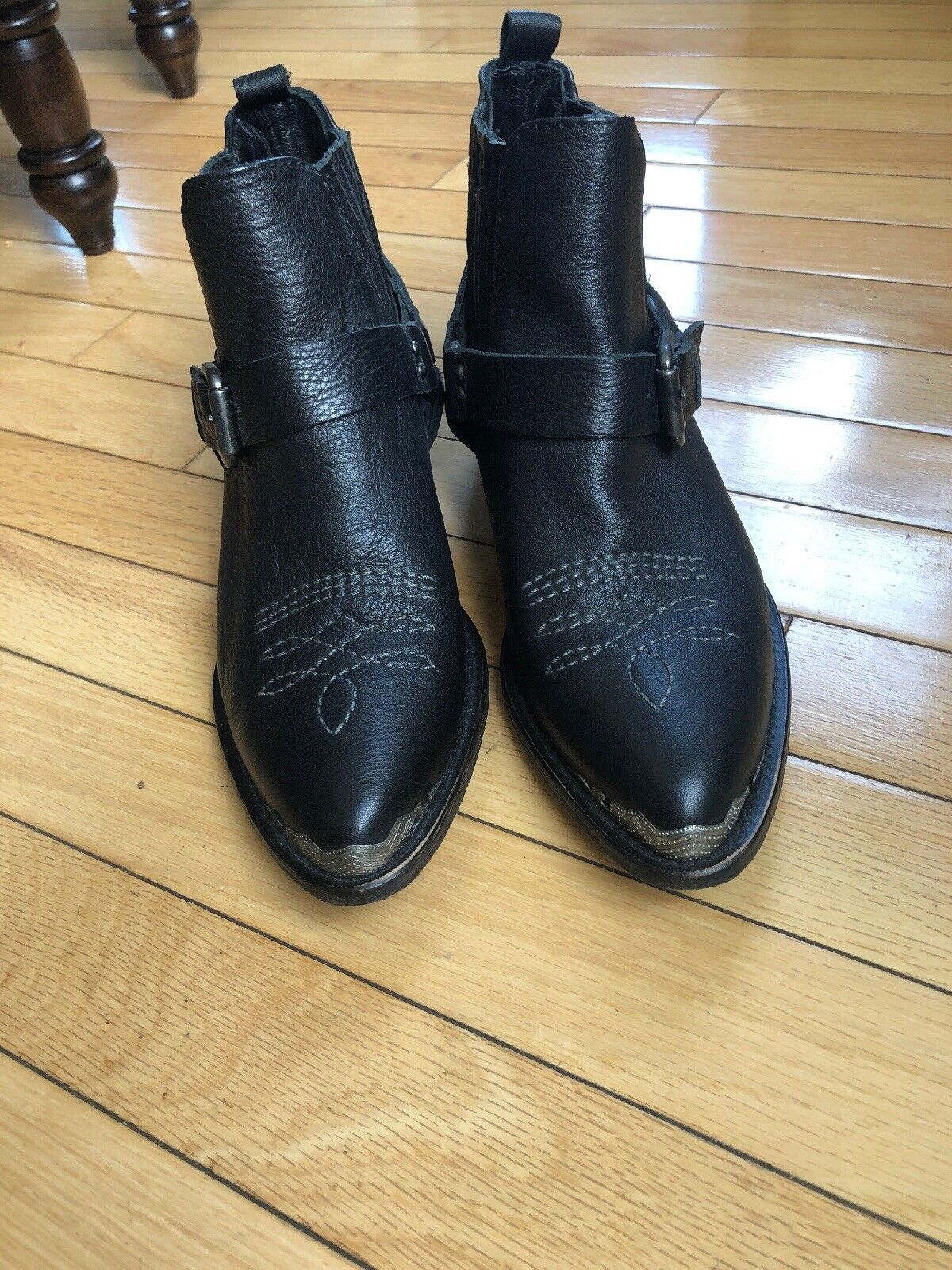NEW ZARA 38 LEATHER COWBOY ANKLE BOOTS BLACK