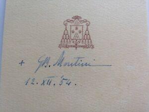 Papa Paolo VI biglietto Vescovo Milano autografo G. B. Montini 1954 Paulus PP