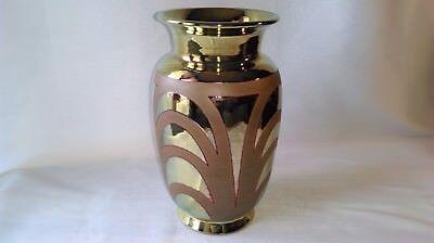 Ancien Vase Art DÉco Émail À Lustre MÉtallique DorÉ Non Signé !