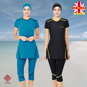 AlHamra-AL3023-Capri-Modest-Burkini-Swimwear-Swimsuit-Muslim-Islamic-Costumes-UK
