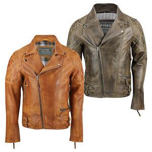 b35c1421c71fc XPOSED Men Real Leather Biker Jacket Vintage Washed Tan Brown Retro ...