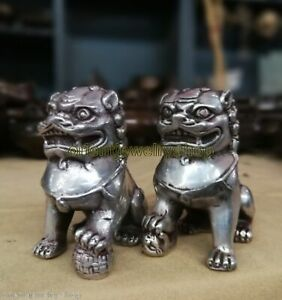"6/"" A Pair Chinese Silver Bronze Fu Foo Dog Guardian lion Statue"