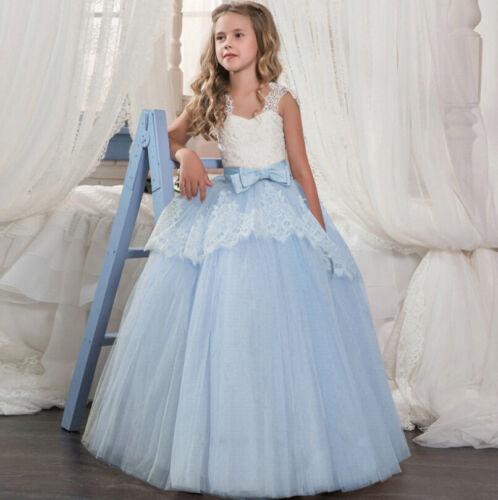 Flower Girls Kids Dresses Lace Formal Wedding Bridesmaid Pageant Maxi Tutu Dress