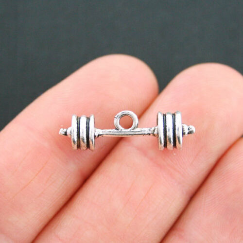 SC5306 6 Barbell Charms Antique Silver Tone 3D Weight Lifting