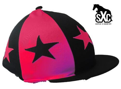 Personnalisé imprimé équitation chapeau couverture en soie cerise et noir rechange étoiles pompon