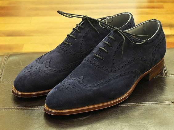 Handmade men navy azul suede zapatos, men wingtip brogue zapatos, dress zapatos for men