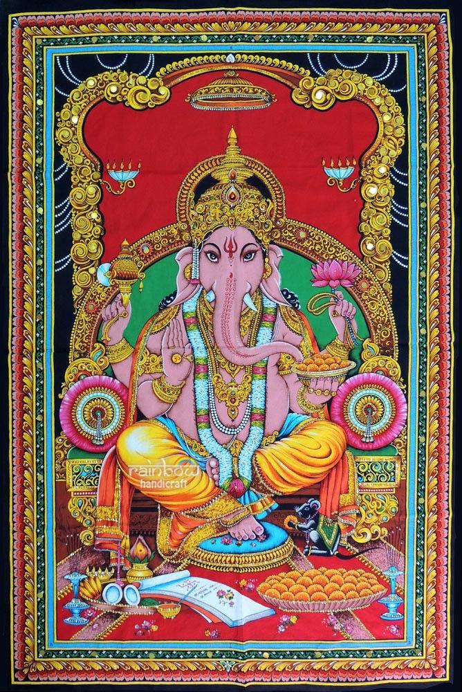 Ganesh Wall Hanging Hindu Elephant God Ganesh Sequin
