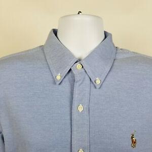 Ralph-Lauren-Knit-Oxford-Blue-Mens-Dress-Button-Shirt-Size-Large-L