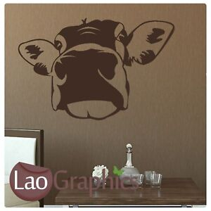 Cow-Head-Wall-Art-Sticker-Large-Vinyl-Transfer-Graphic-Decal-Home-Decor-RA125