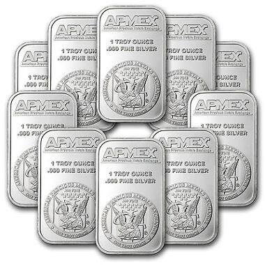 10-Lot 1 oz Apmex Silver Bar