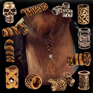 hair beard bead ring bronze for viking celtic northman dreadlock pirate medieval ebay. Black Bedroom Furniture Sets. Home Design Ideas