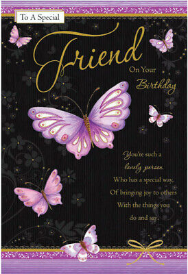 To A Special Friend Happy Birthday Butterfly Design Quality Card Lovely Verse Ebay