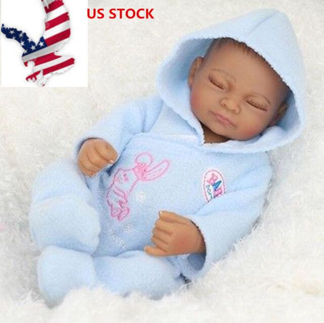 """10/"""" Newborn Full Body Silicone Baby Lifelike African American Reborn Doll Dolls"""