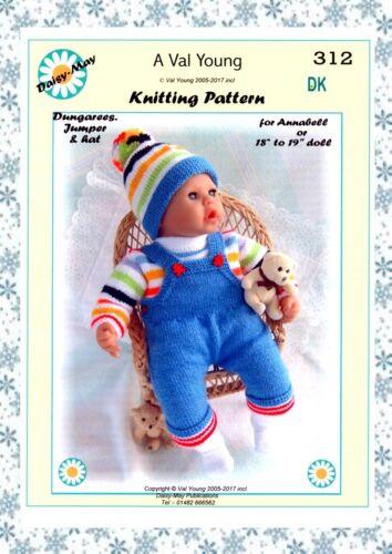 """1 Poupées Knitting Pattern Nº 312 pour//Annabell 18/""""//19/"""" Poupée une marguerite peut Pattern"""