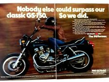Vintage 1980 Suzuki GS-750 E Motorcycle Two Page Original Ad