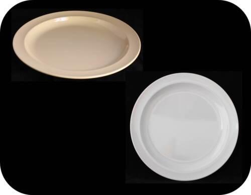 """Round Plates Melamine Dinner Plate Set Salad Pizza Platter 6-1//2/"""" White Tan #106"""