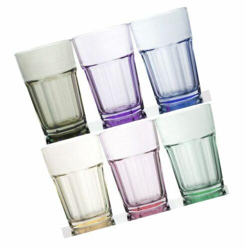 Rainbow Illusion Tinted Glass Rocks Tumbler Set of 6 11.75 oz Pastel Edition