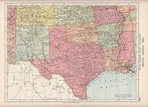 1923 MAP ~ UNITED STATES AMERICA SOUTH CENTRAL ~ TEXAS NEW MEXICO OKLAHOMA