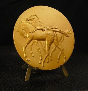 Medaille-bronze-dore-animal-Chevaux-Horses-lamourdedieu-187-g-80-mm-medal