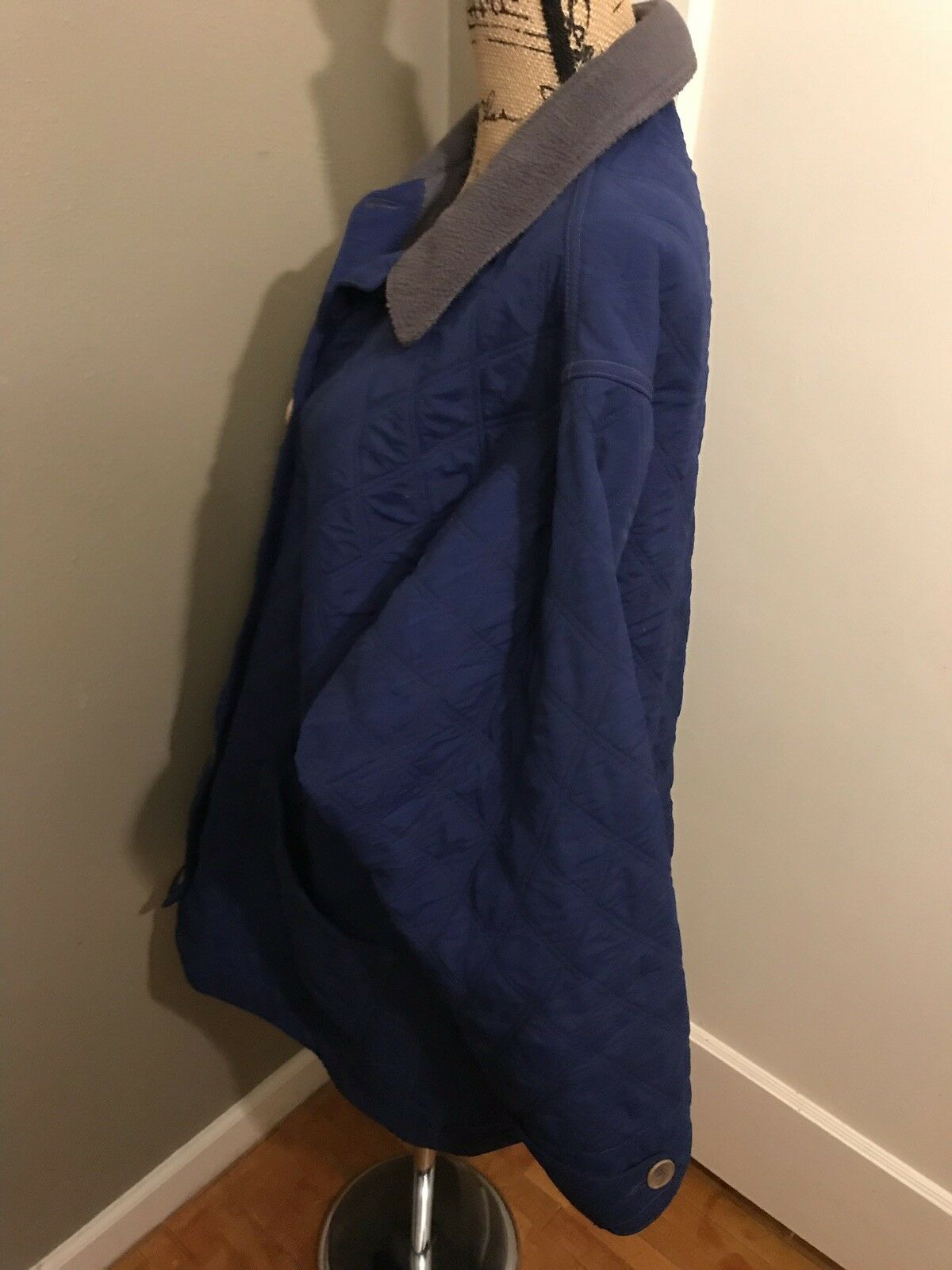 PATAGONIA Women's Vintage bluee Quilted Button Down Long Coat Coat Coat Size 14 438d9d