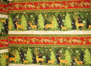 Christmas-Reindeer-Stripe-Cotton-Fabric-Wilmington-Peace-Earth-1-yard-15-inches