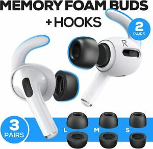Black Memory Foam Covers Tips AND Ear Hooks for AirPods Pro Size S,M,L + 4 Hooks
